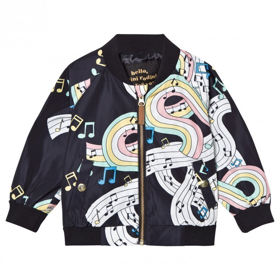 Mini Rodini Melody Baseball Jacket Black Bomber Takki