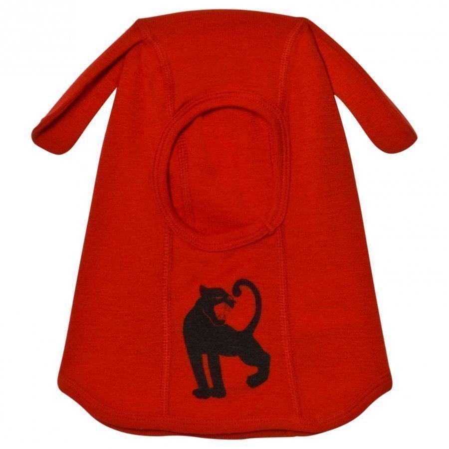 Mini Rodini Panther Wool Balaclava Red Kypäräpipo