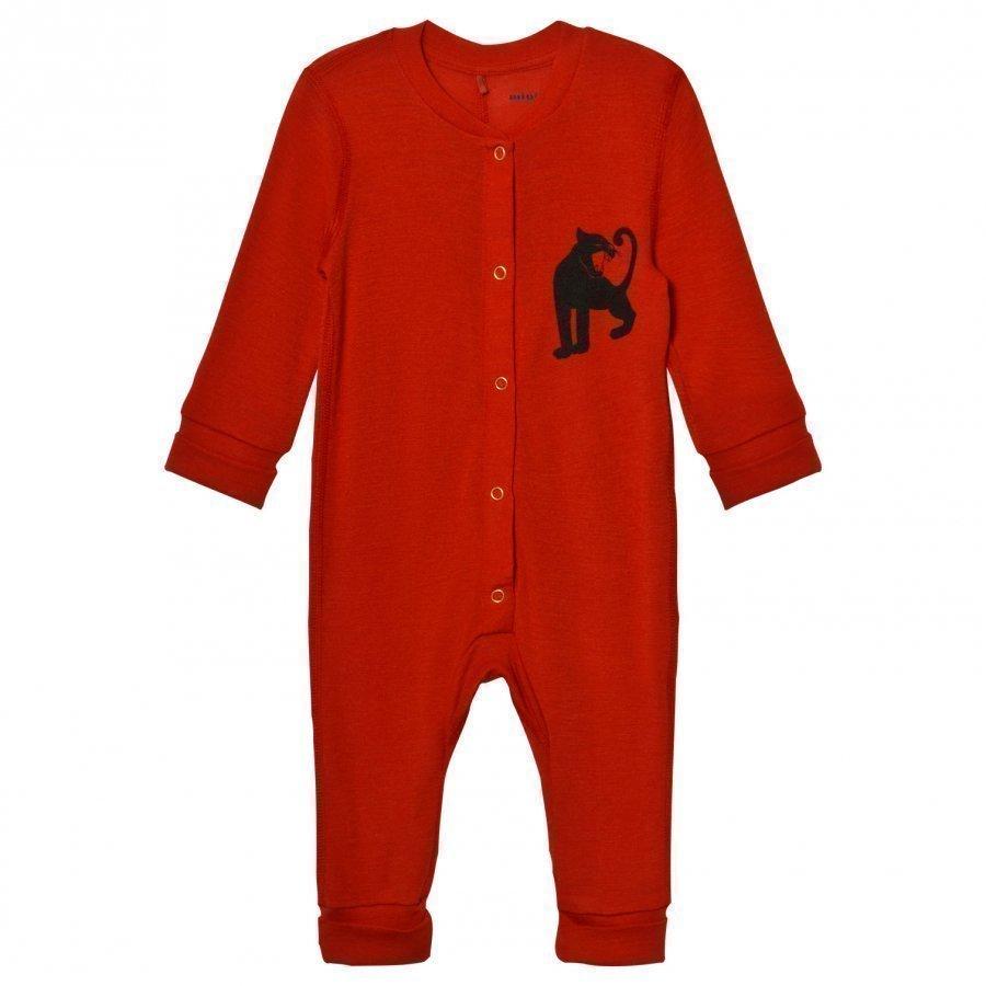 Mini Rodini Panther Wool One-Piece Red Kokopuku