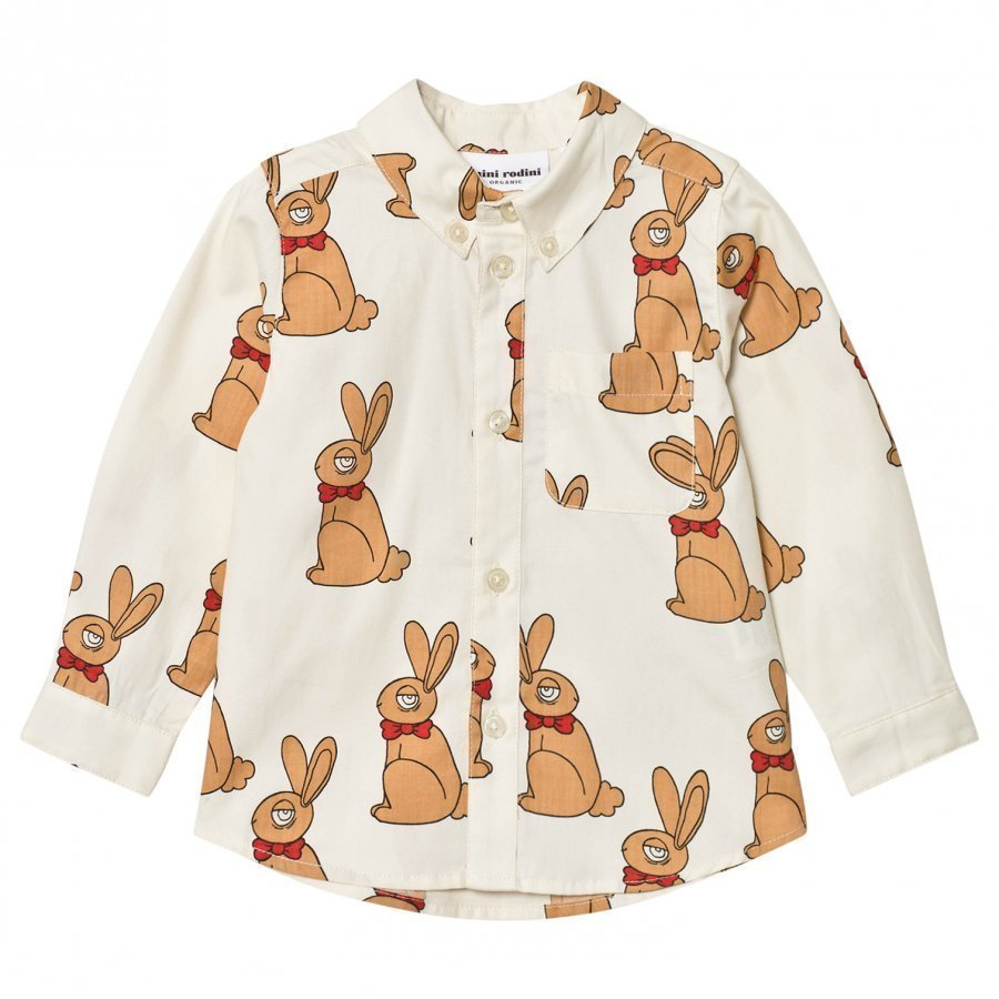 Mini Rodini Rabbit Shirt Off White Kauluspaita