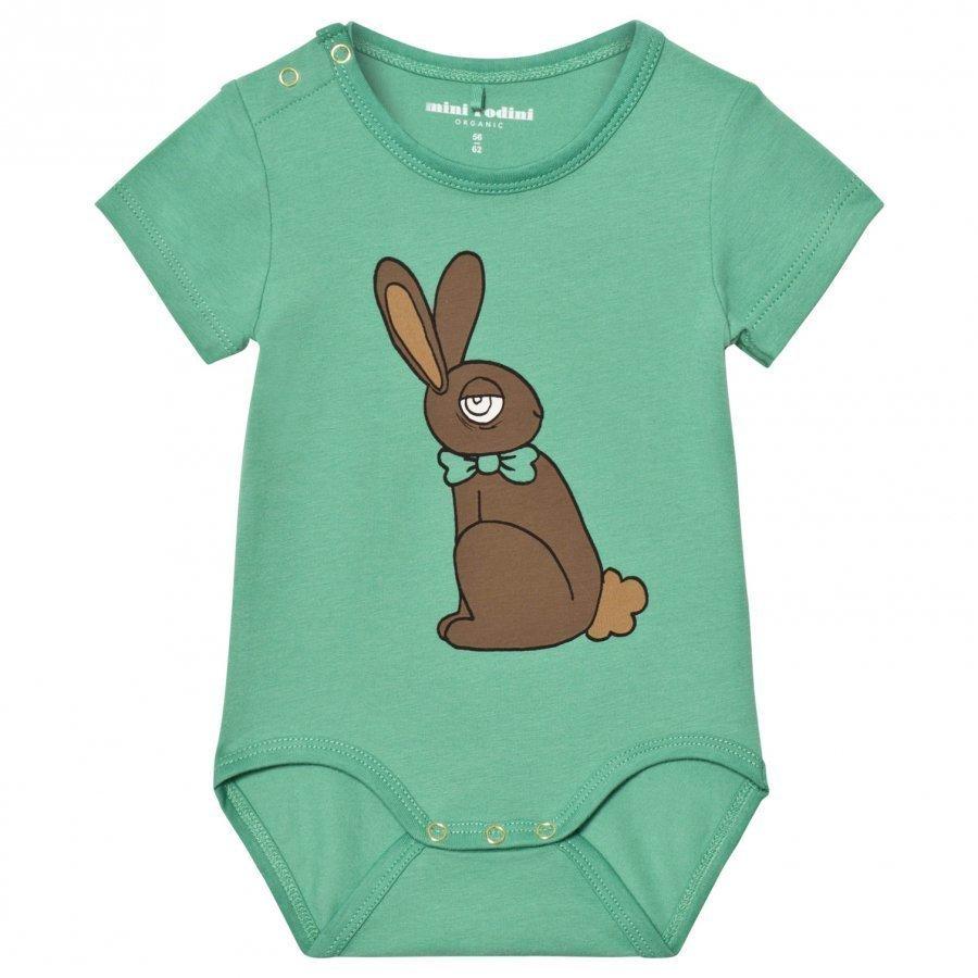 Mini Rodini Rabbit Short Sleeve Baby Body Green Romper Puku