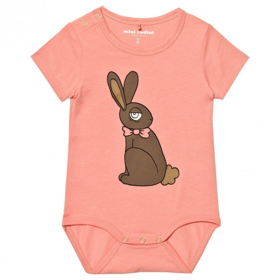 Mini Rodini Rabbit Short Sleeved Baby Body Pink Romper Puku