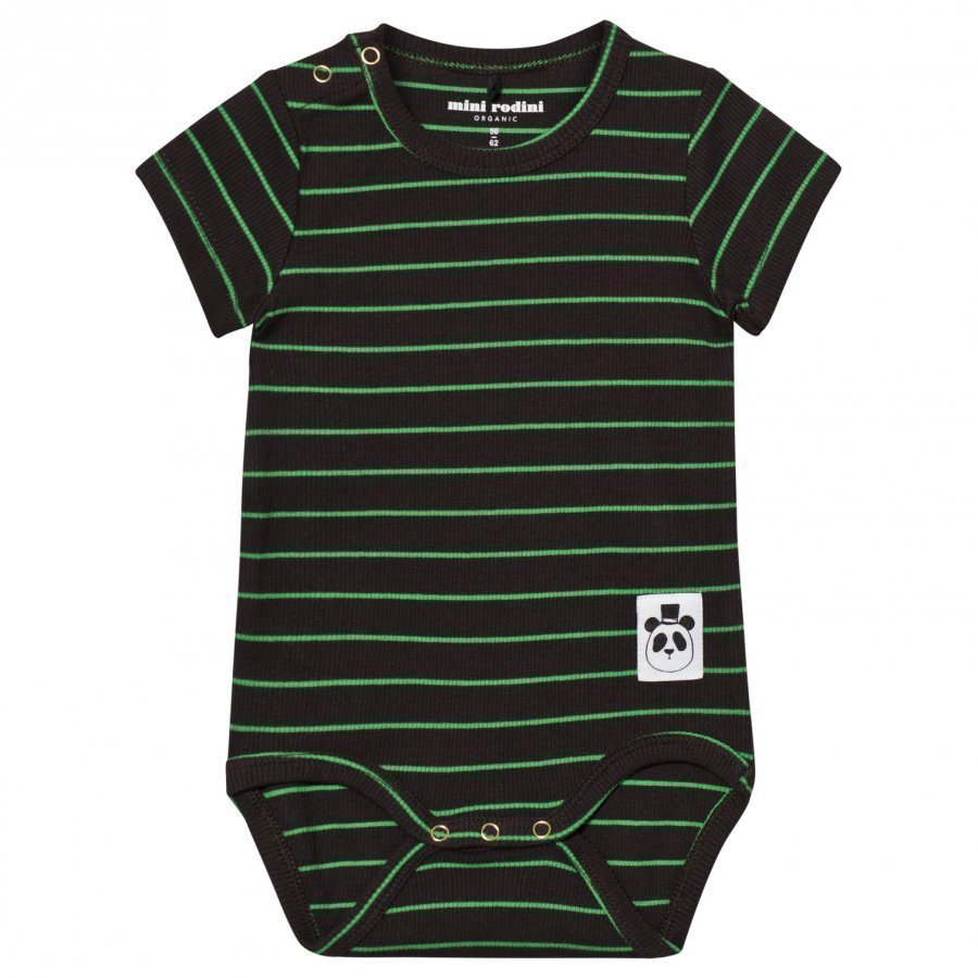 Mini Rodini Stripe Rib Baby Body Black Romper Puku