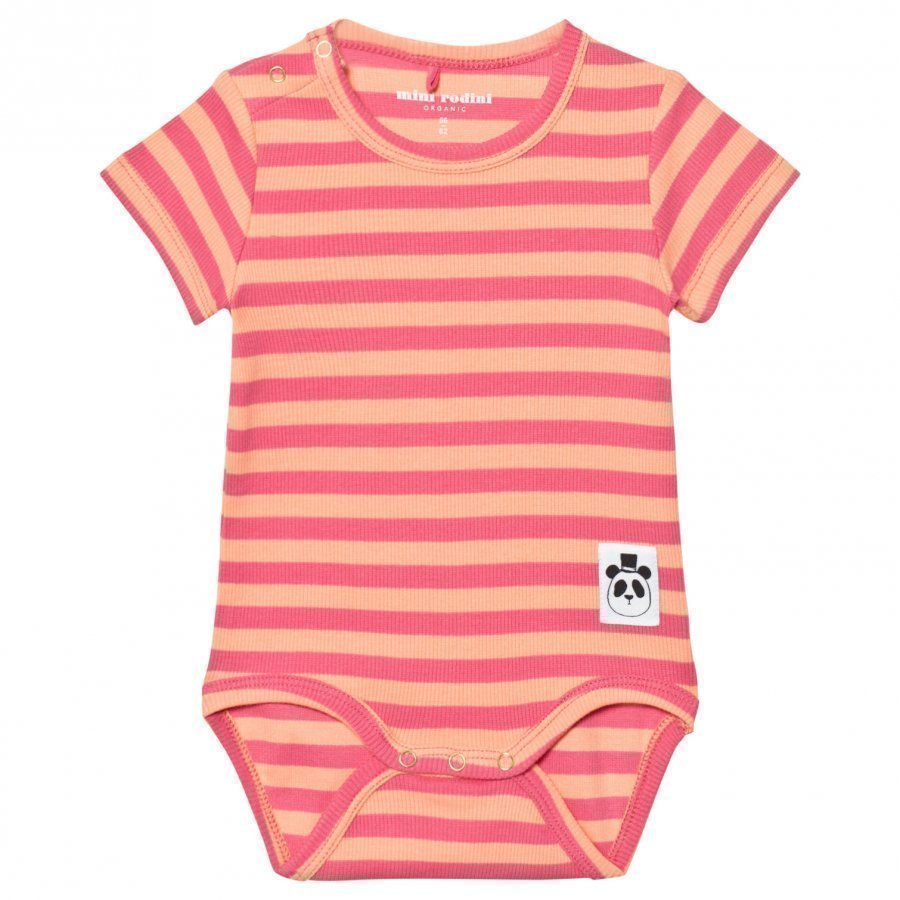 Mini Rodini Stripe Rib Short Sleeve Body Pink Romper Puku