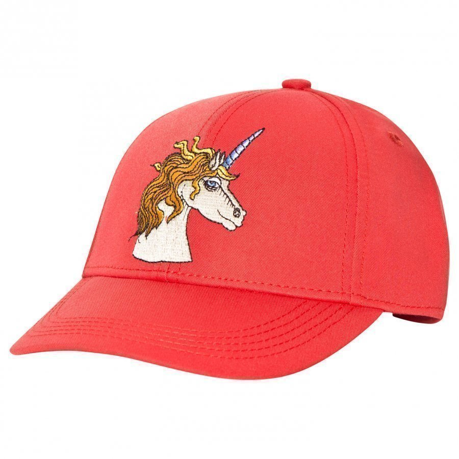 Mini Rodini Unicorn Embroidered Cap Red Lippis