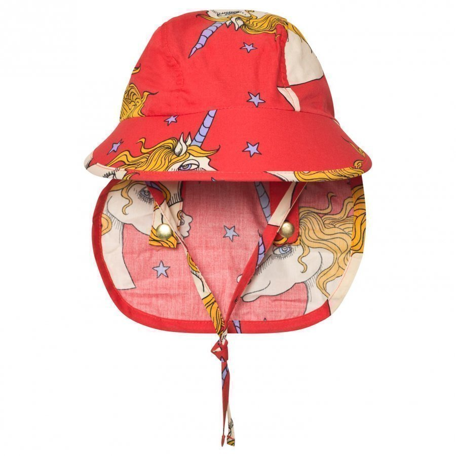 Mini Rodini Unicorn Star Sun Cap Red Lippis