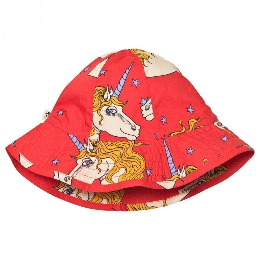 Mini Rodini Unicorn Star Sun Hat Red Aurinkohattu