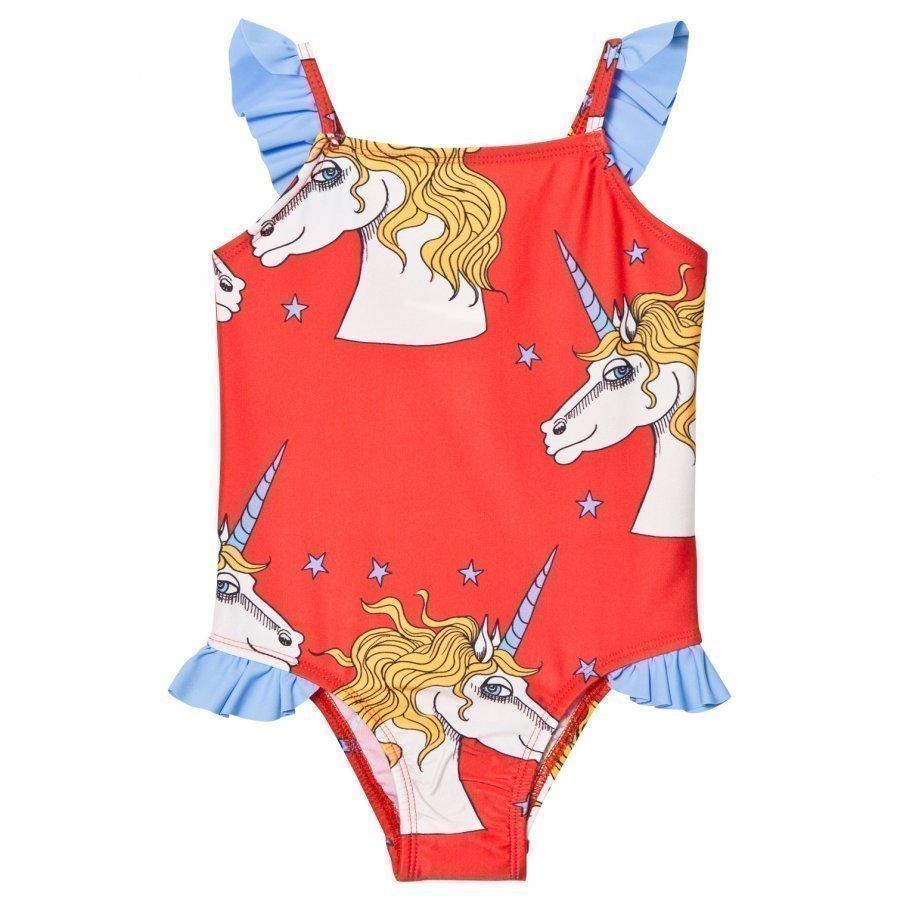 Mini Rodini Unicorn Star Wing Swimsuit Red Uimapuku