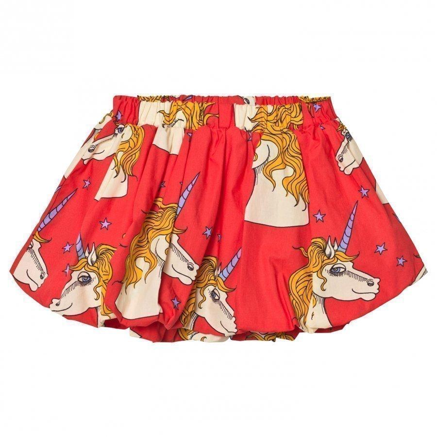 Mini Rodini Unicorn Star Woven Skirt Red Lyhyt Hame