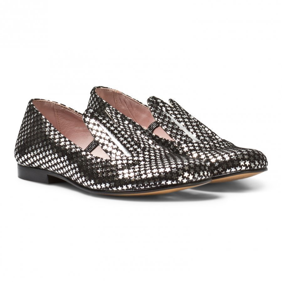 Minna Parikka Black And Silver Star Leather Bunny Ears Loafers Loaferit