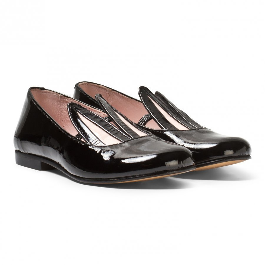 Minna Parikka Black Patent Leather Bunny Ears Loafers Loaferit