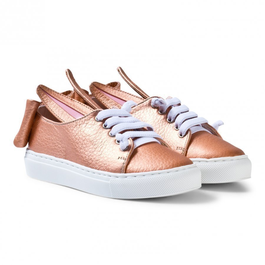 Minna Parikka Exclusive Rose Gold Nappa Leather T Bow Mini Trainers Lenkkarit