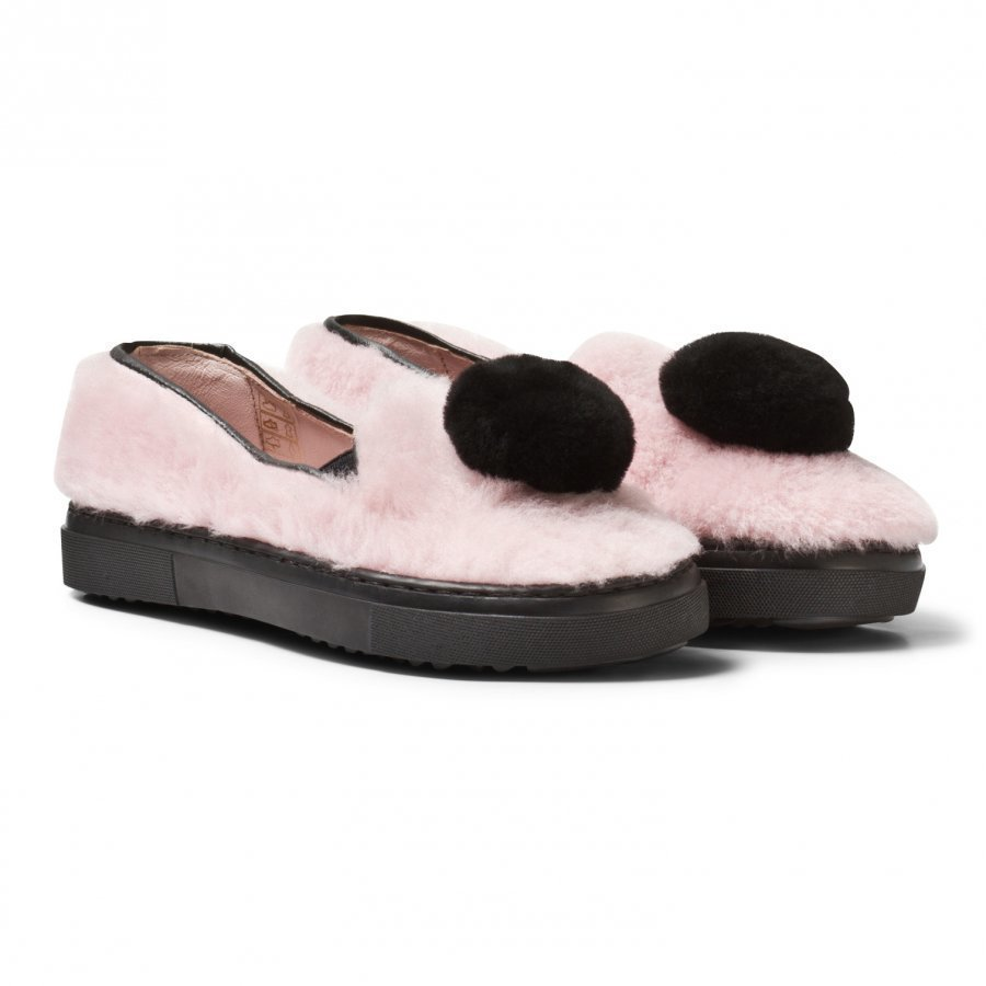 Minna Parikka Pale Pink And Black Pom Pom Shearling Slip Ons Lenkkarit