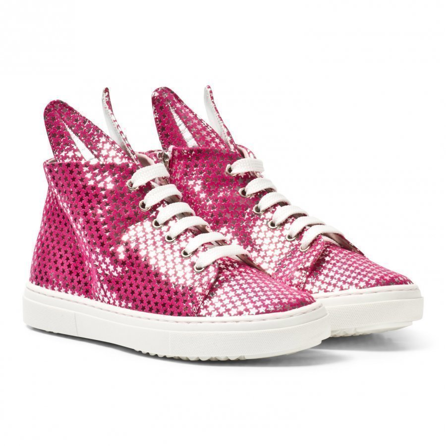 Minna Parikka Pink And Silver Star Leather Bunny Hi Top Trainers Korkeavartiset Kengät