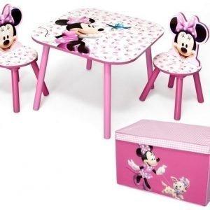 Minnie Mouse Pöytä 2 tuolia ja säilytyslaatikko Paketti