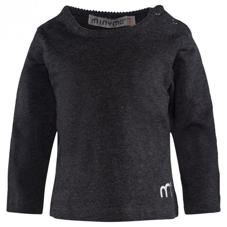 Minymo Ls T-Shirt Warm Grey Melange Pitkähihainen T-Paita