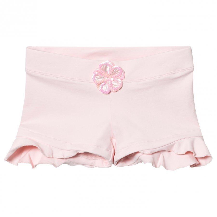 Mirella Pink Sequin Daisy Motif Ruffle Shorts Shortsit