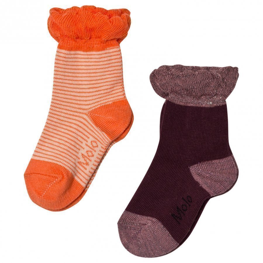 Molo 2-Pack Noella Socks Orange/Forest Berry Sukat