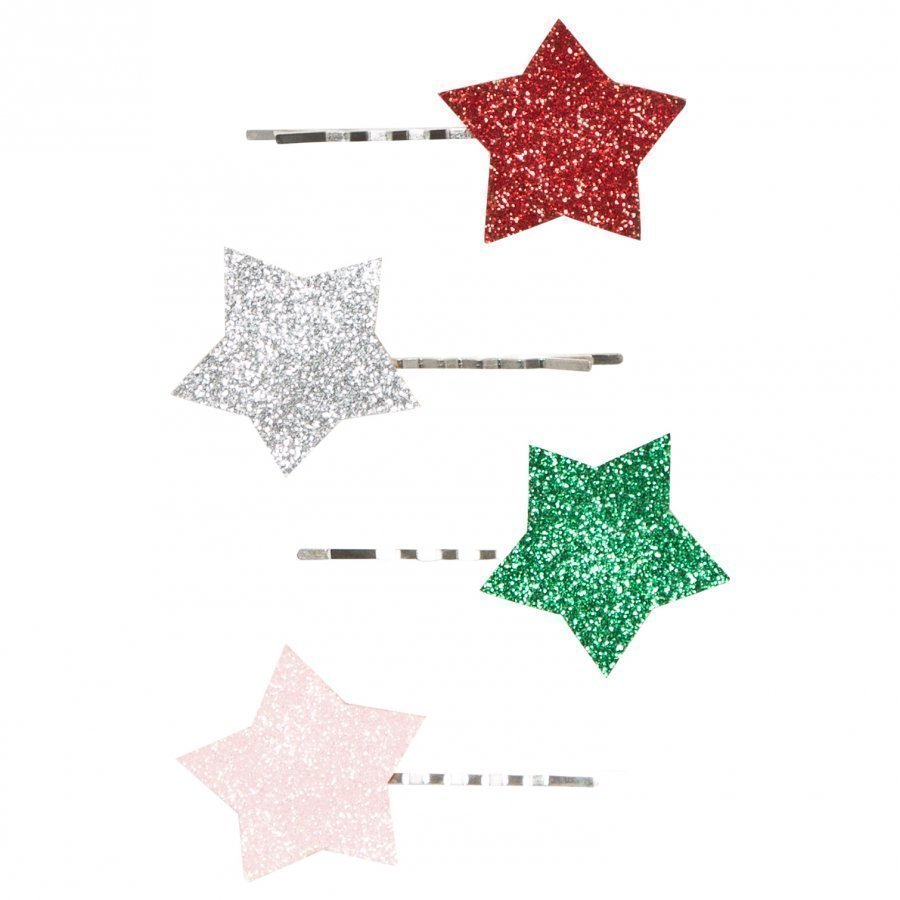 Molo 4-Pack Star Hair Clips Silver Hiusnauha