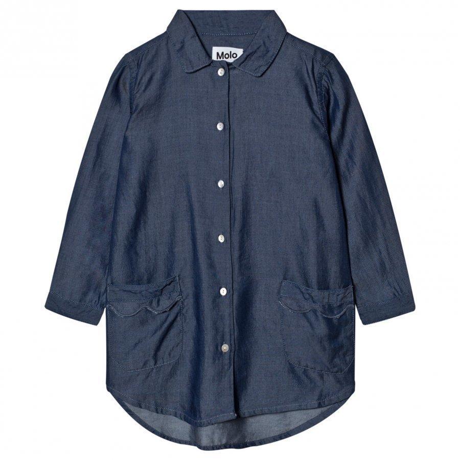Molo Celeste Shirt Dress Chambray Blue Mekko