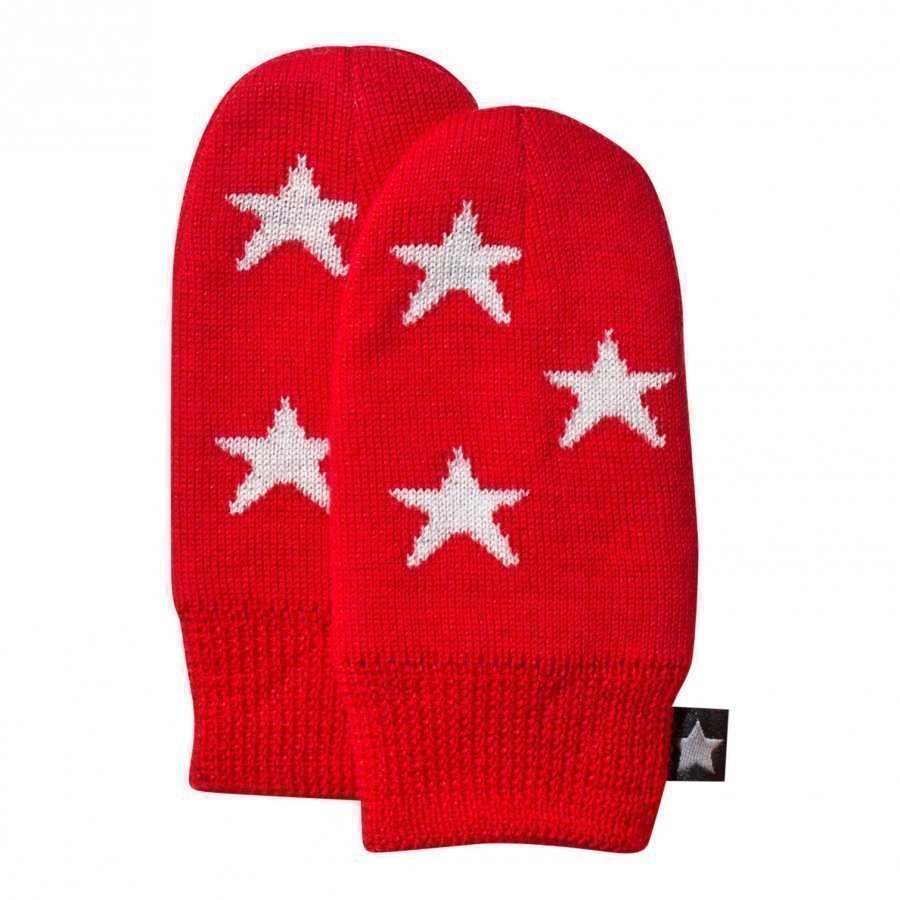Molo Snowflake Mittens True Red Villalapaset