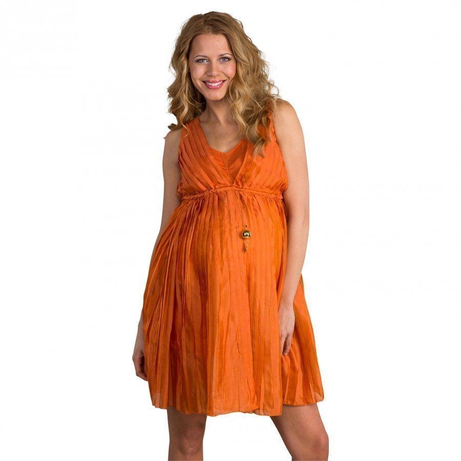 Mom2mom Pleated Dress Burnt Orange Raskausmekko