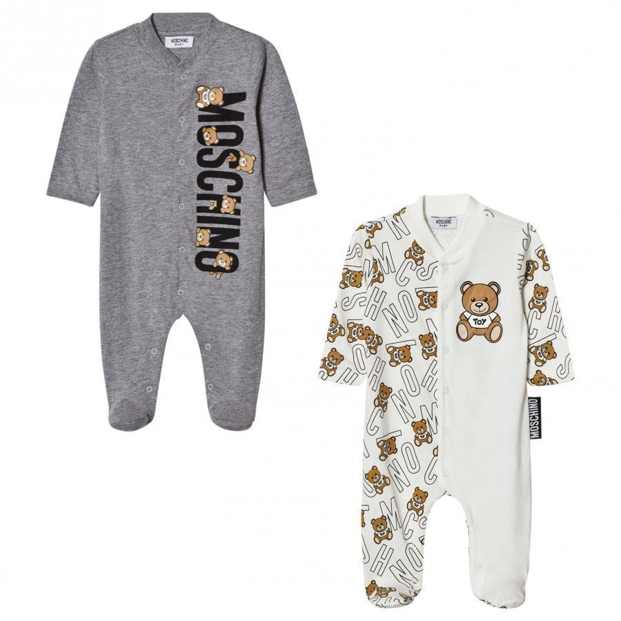 Moschino Kid-Teen 2-Pack Footed Baby Body All Over Bear Grey Gift Box Set Body