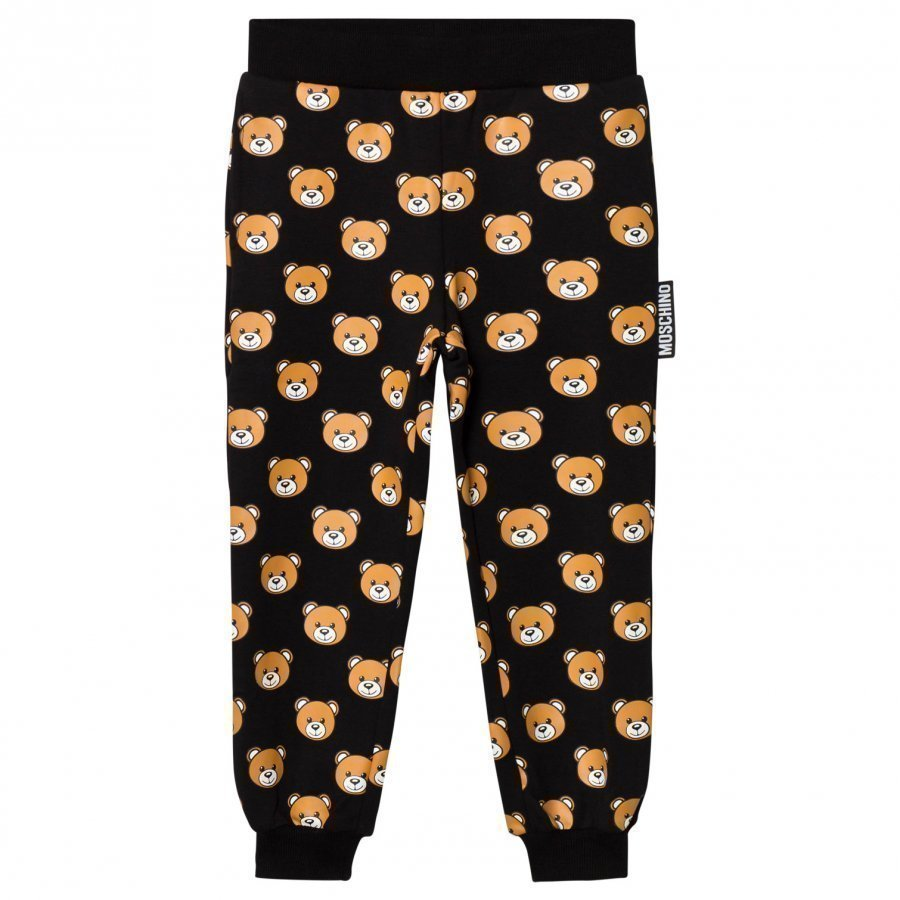 Moschino Kid-Teen Black All Over Bear Print Sweatpants Verryttelyhousut