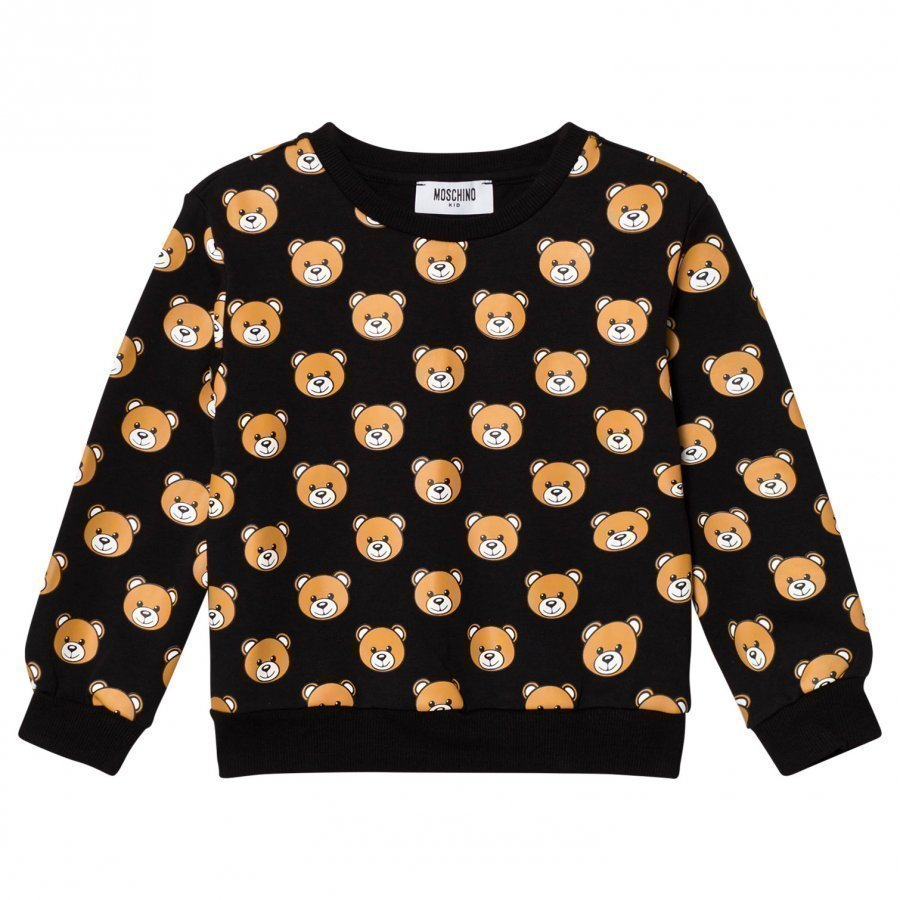 Moschino Kid-Teen Black All Over Bear Print Sweatshirt Oloasun Paita