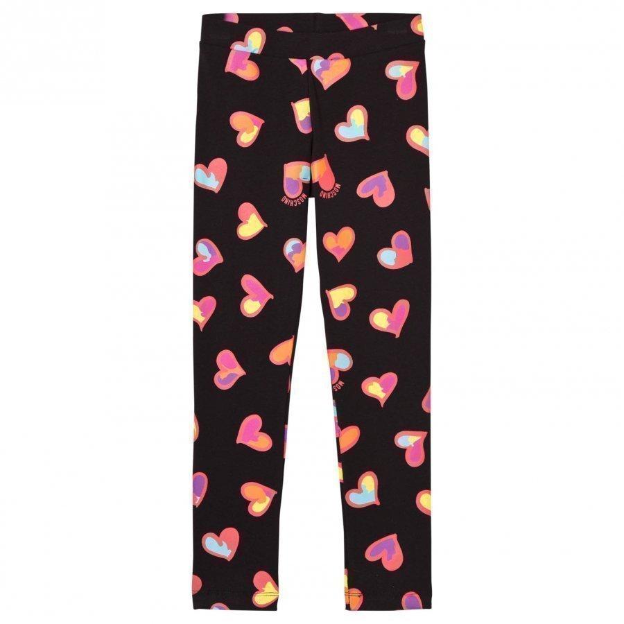 Moschino Kid-Teen Black All Over Heart Print Branded Leggings Legginsit