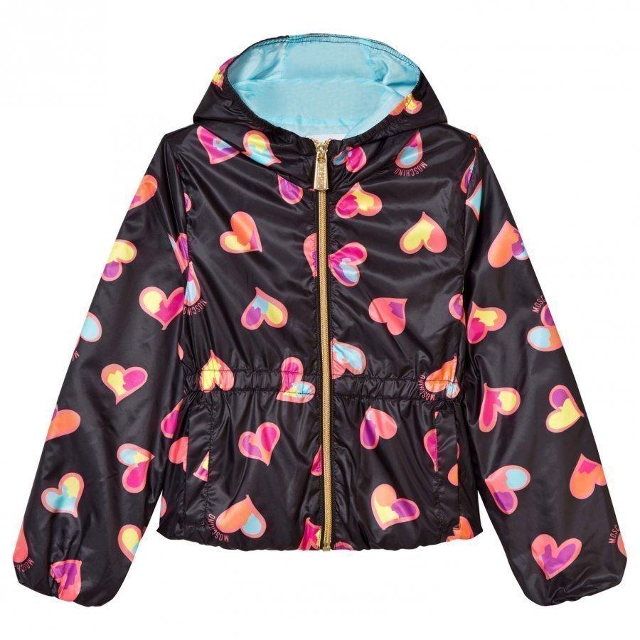 Moschino Kid-Teen Black All Over Heart Print Hooded Jacket Huppari
