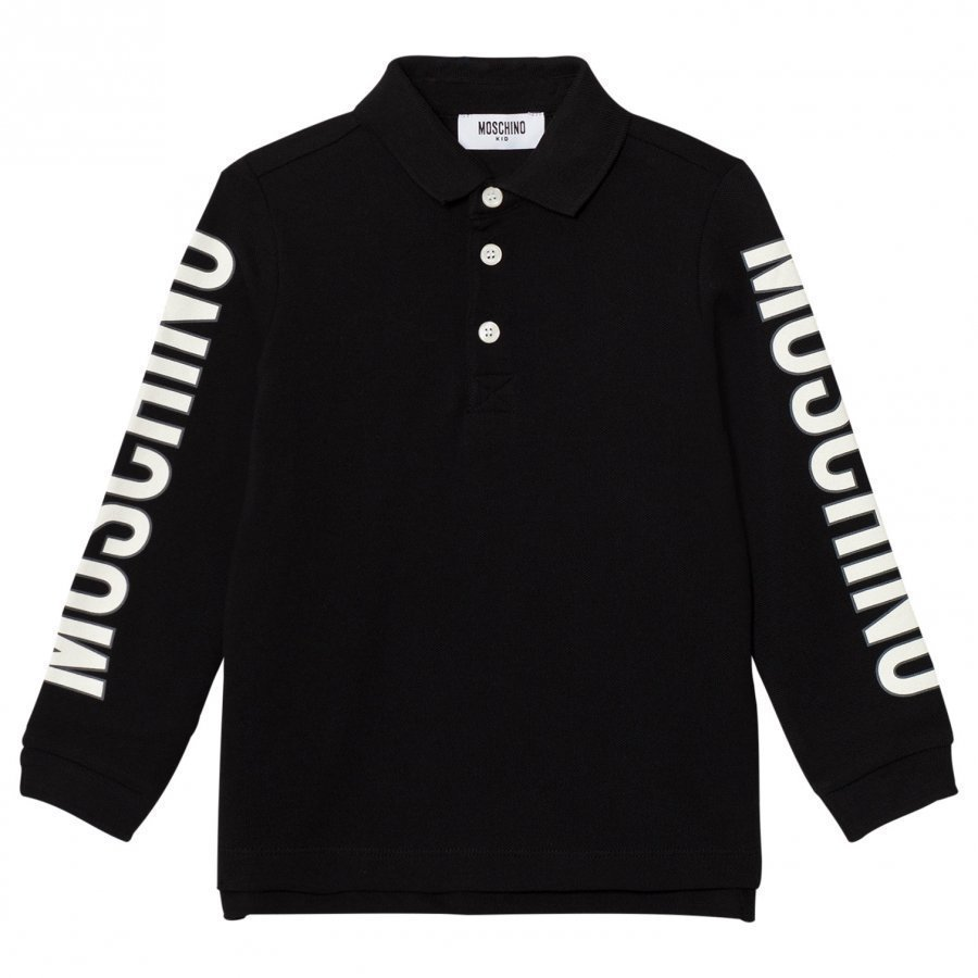 Moschino Kid-Teen Black Branded Sleeve Polo Pikeepaita