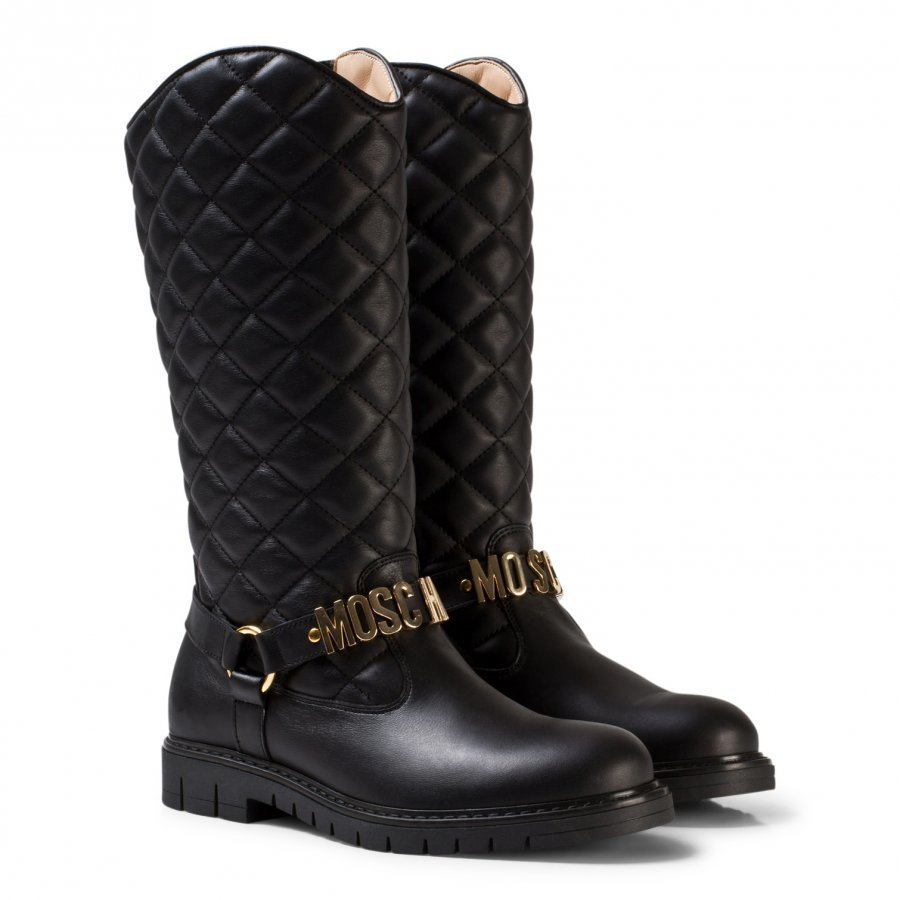 Moschino Kid-Teen Black Leather Quilted Branded Tall Boots Korkeavartiset Saappaat