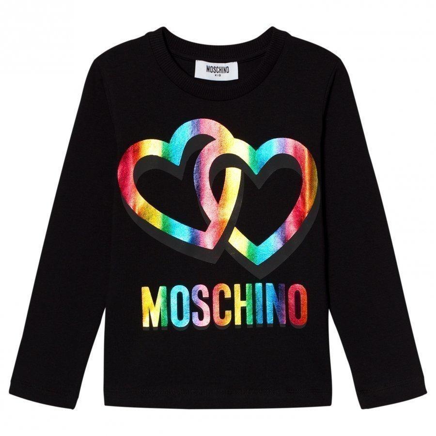 Moschino Kid-Teen Black Rainbow Heart Logo Long Sleeve Tee T-Paita