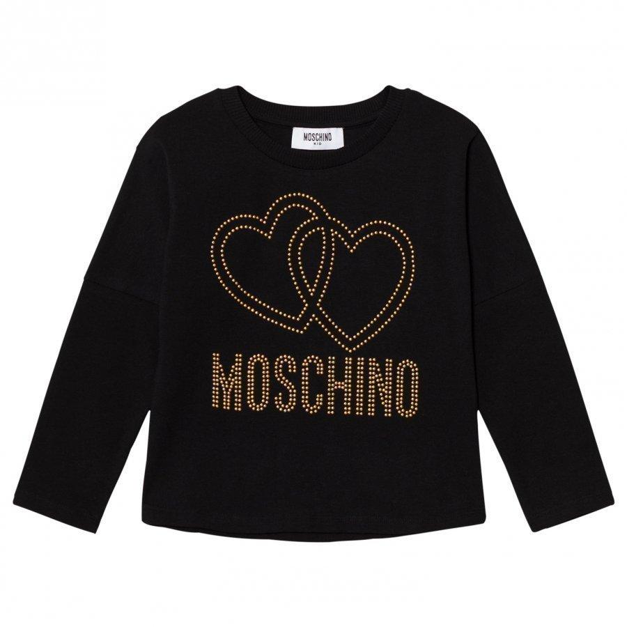 Moschino Kid-Teen Black Studded Logo Tee T-Paita