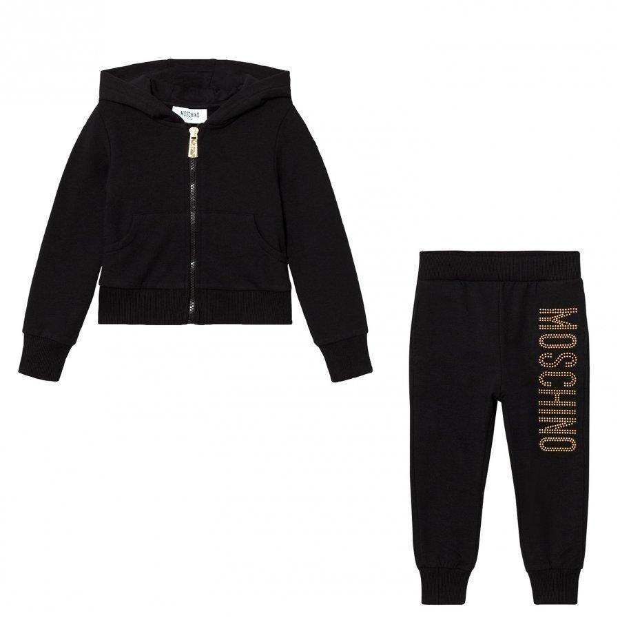 Moschino Kid-Teen Black Studded Logo Tracksuit Verryttelyasu