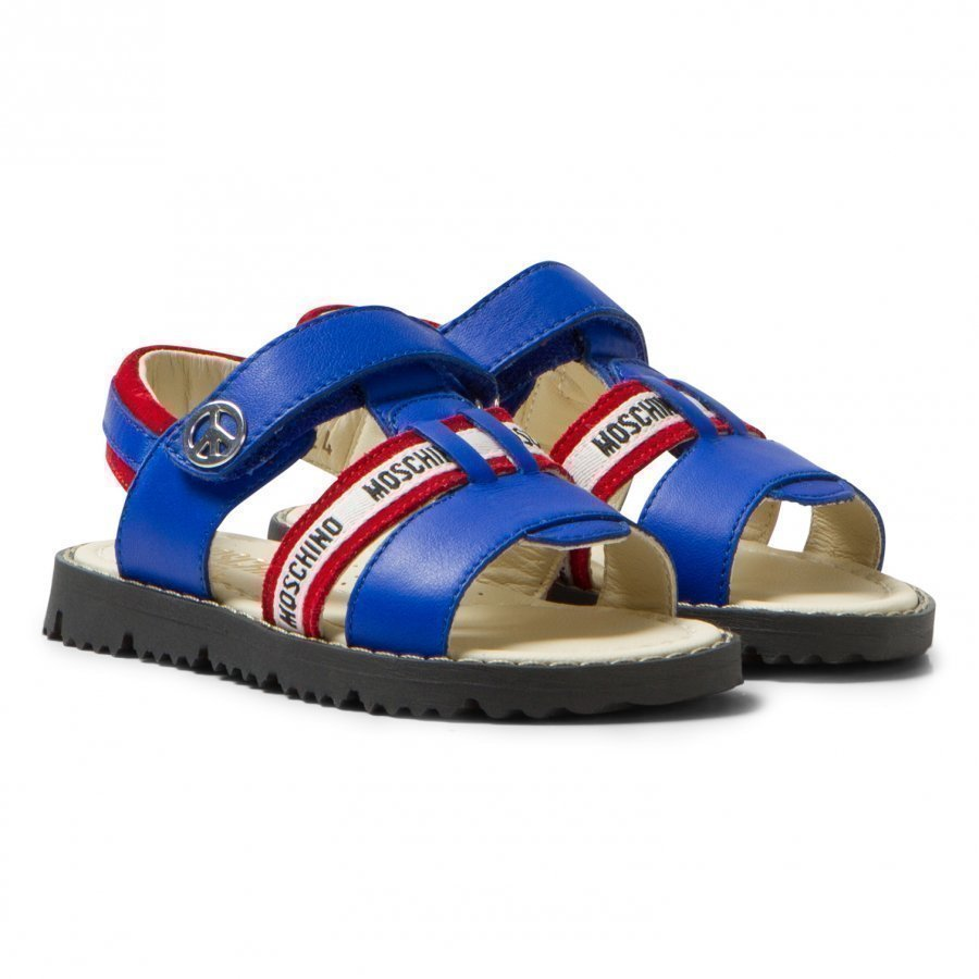 Moschino Kid-Teen Blue And Red Vitello Branded Sandals Remmisandaalit