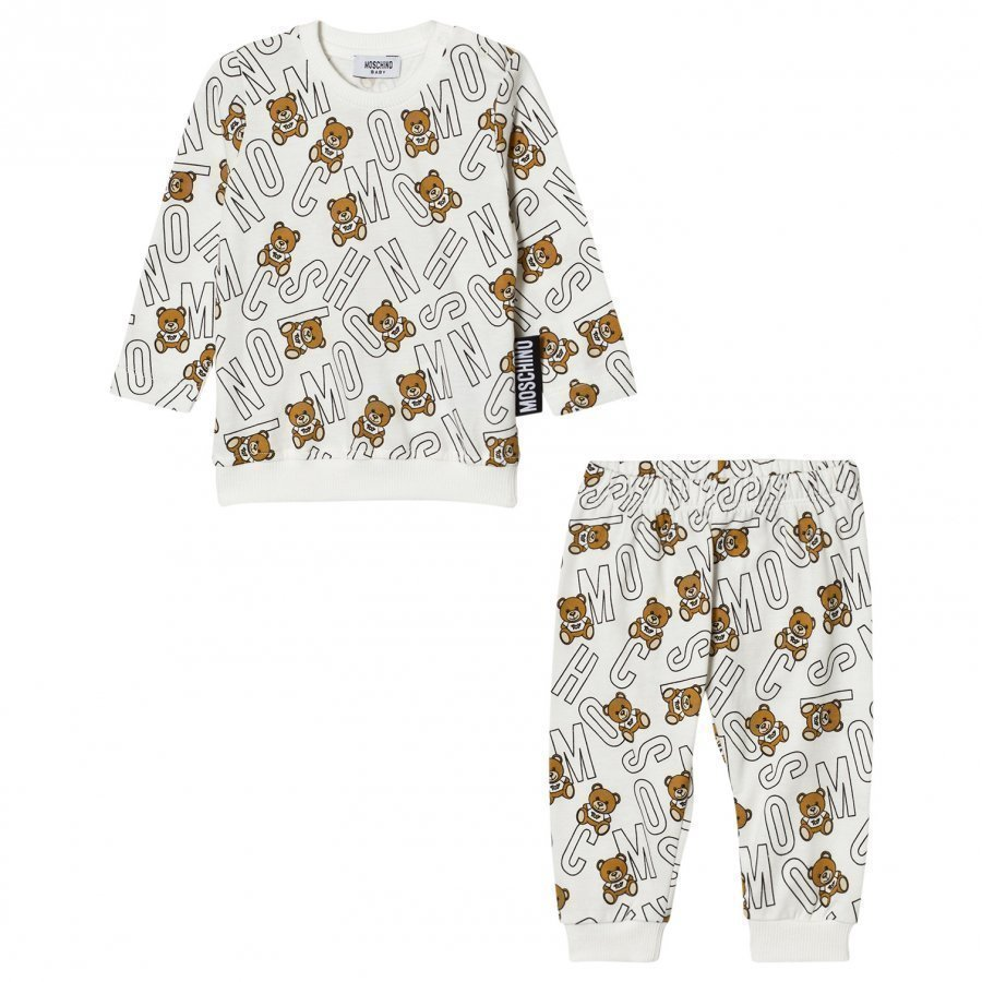 Moschino Kid-Teen Cream All Over Bear Jersey Tracksuit Verryttelyasu