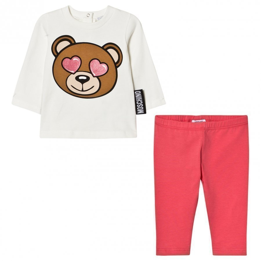Moschino Kid-Teen Cream And Pink Heart Eye Bear Print Tee And Leggings Set Asusetti