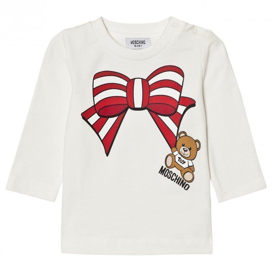 Moschino Kid-Teen Cream Christmas Bow Bear Tee T-Paita