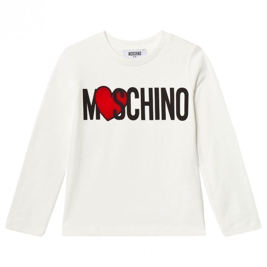 Moschino Kid-Teen Cream Heart Branded Tee T-Paita