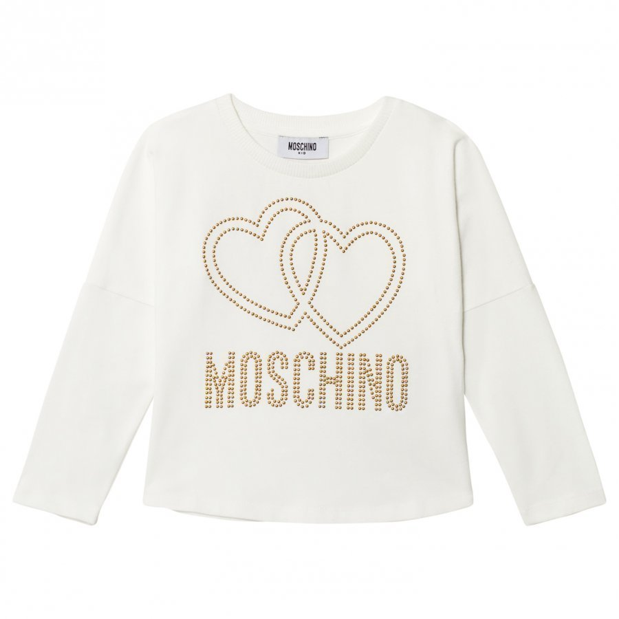 Moschino Kid-Teen Cream Studded Logo Tee T-Paita