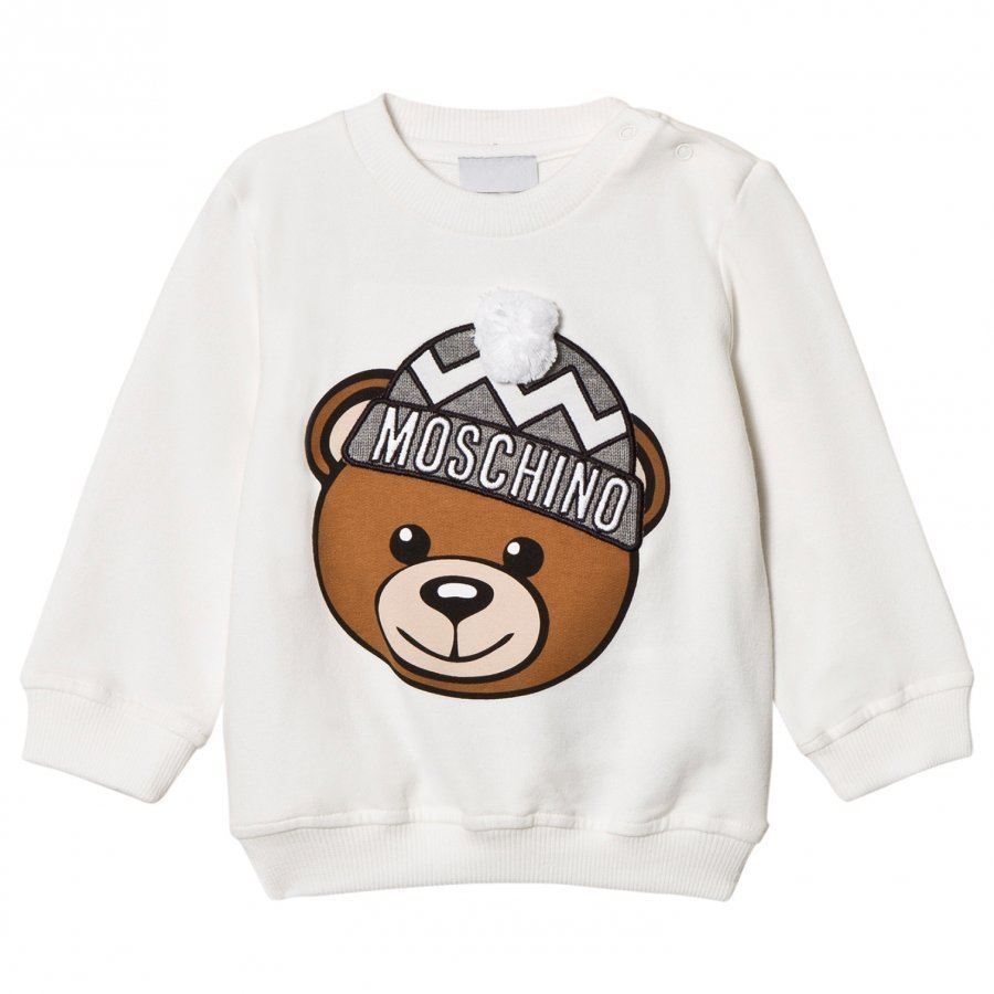 Moschino Kid-Teen Cream Winter Bear Pom Pom Applique Sweatshirt Oloasun Paita