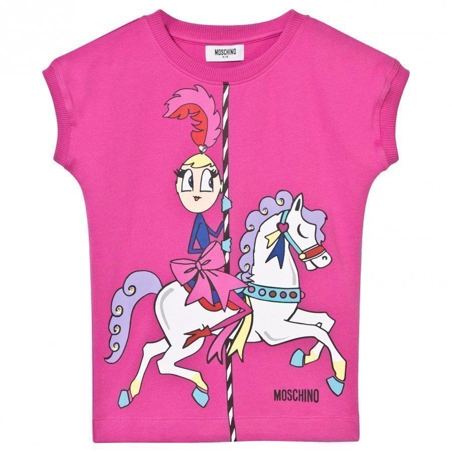 Moschino Kid-Teen Fuchsia Carousel Print Sweat Dress T-Paita