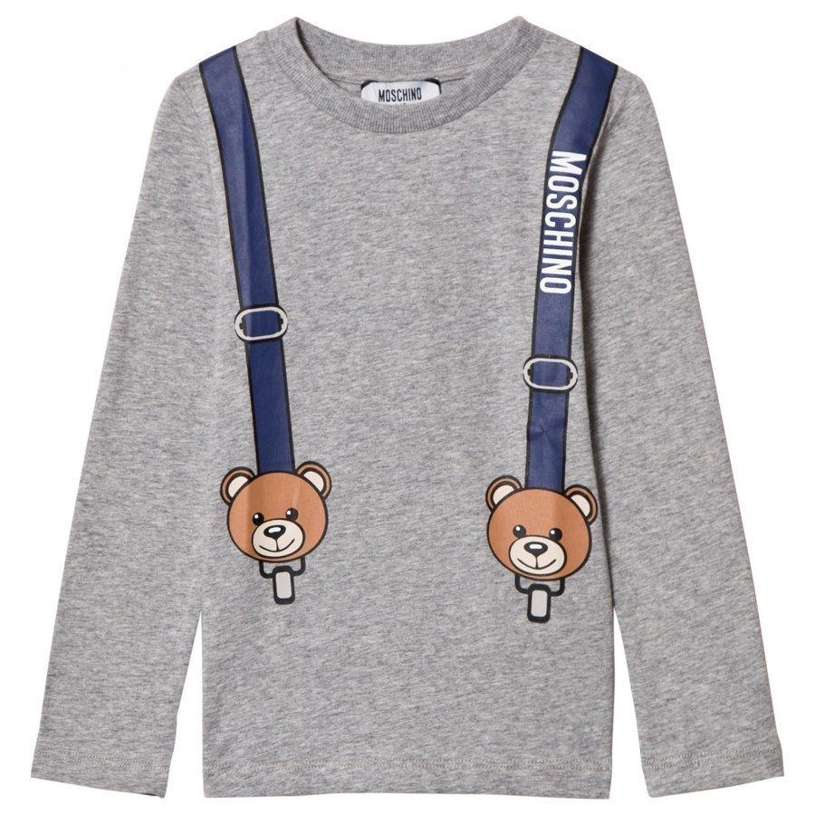 Moschino Kid-Teen Grey Bear Braces Print Tröja Pitkähihainen T-Paita