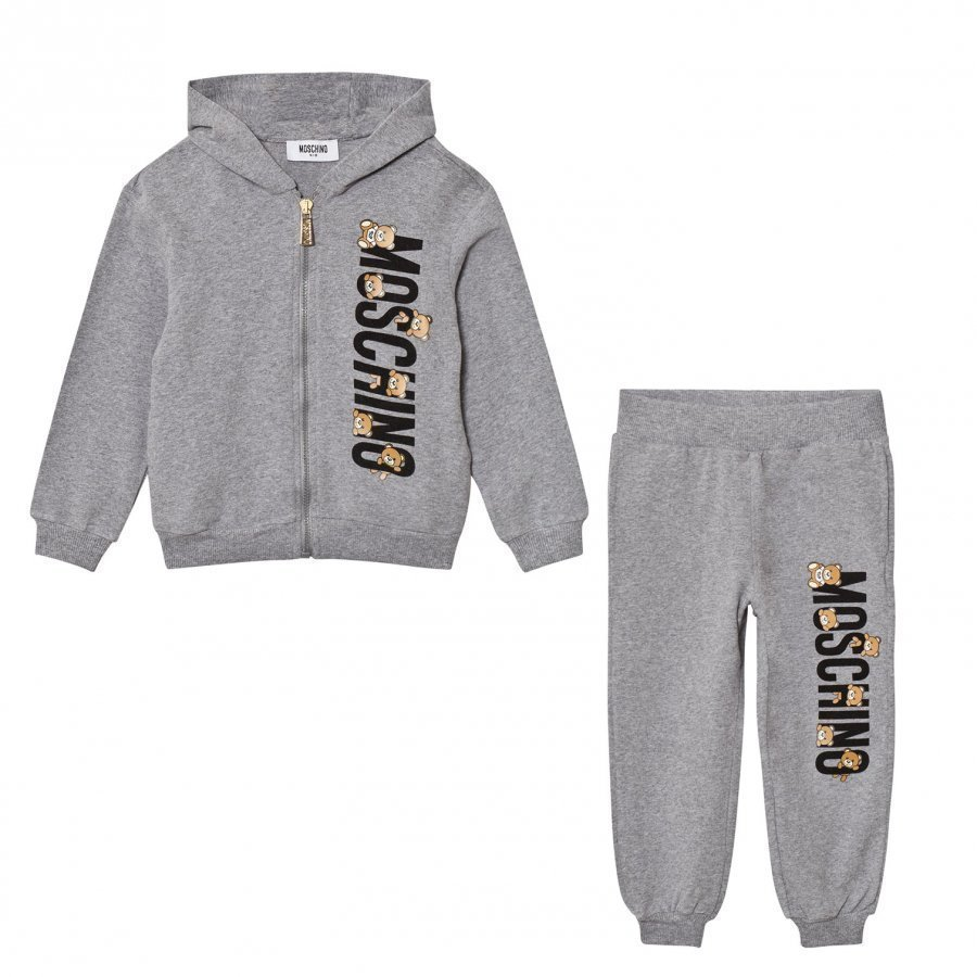 Moschino Kid-Teen Grey Bear Logo Tracksuit Verryttelyasu
