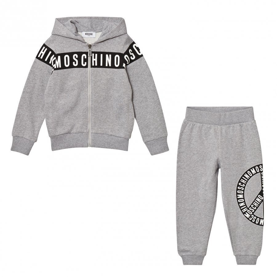 Moschino Kid-Teen Grey Branded Peace Sweat Set Verryttelyasu