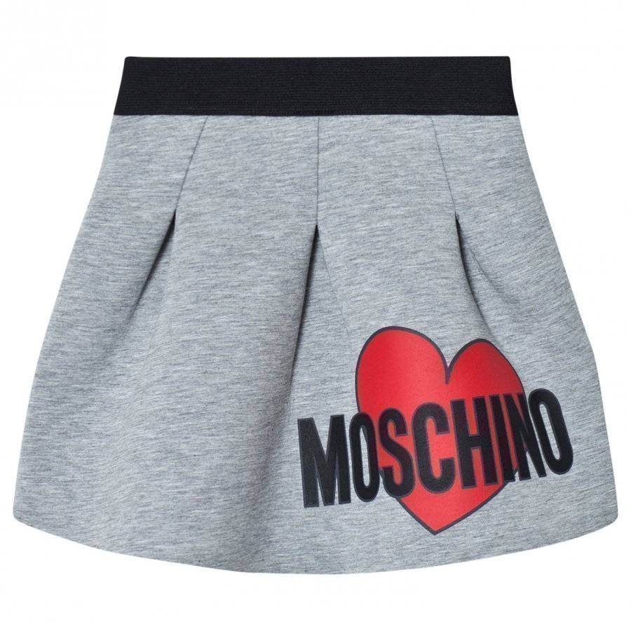 Moschino Kid-Teen Grey Heart Print Neoprene Skirt Kellohame