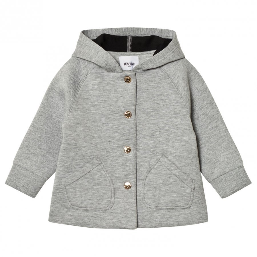Moschino Kid-Teen Grey Neoprene Heart Print Hooded Jacket Talvitakki