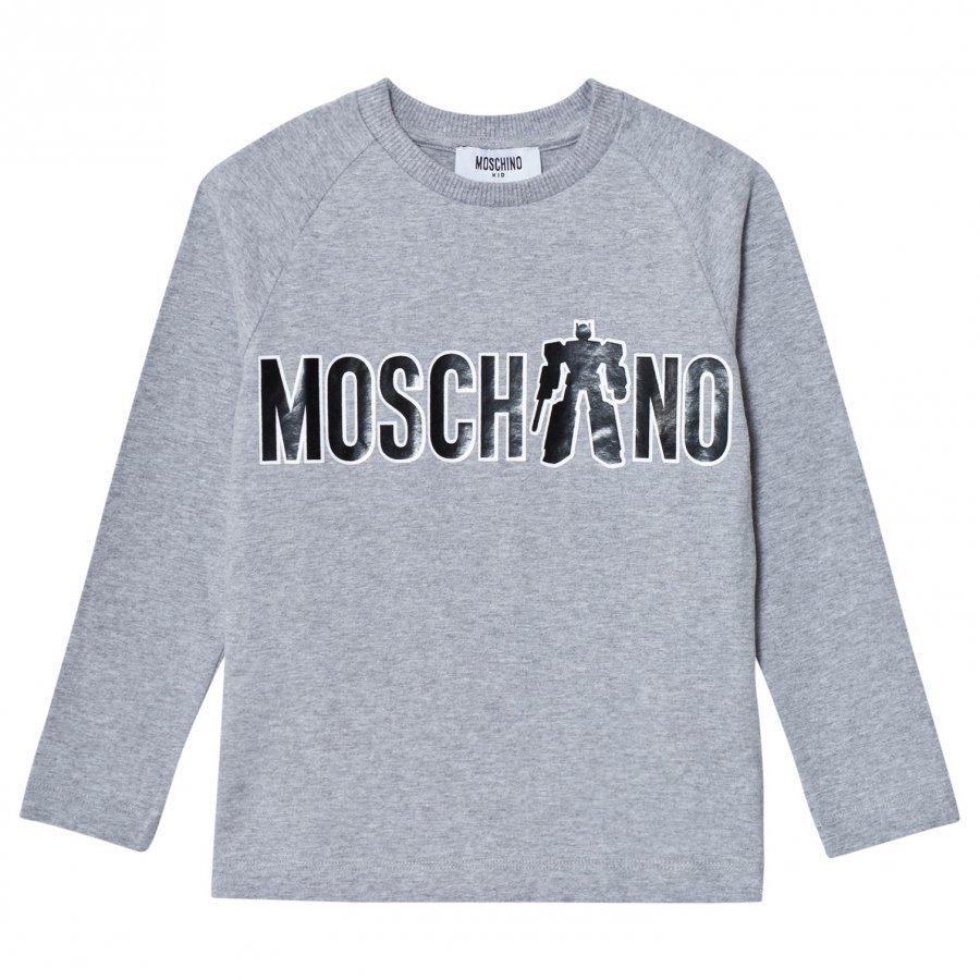 Moschino Kid-Teen Grey Transformer Branded Print Tee T-Paita